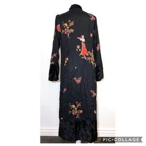 NA-ta-ya Vintage Black Velvet geisha kimono duster